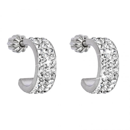 Stříbrné náušnice s krystaly Swarovski bílý půlkruh 31118.1