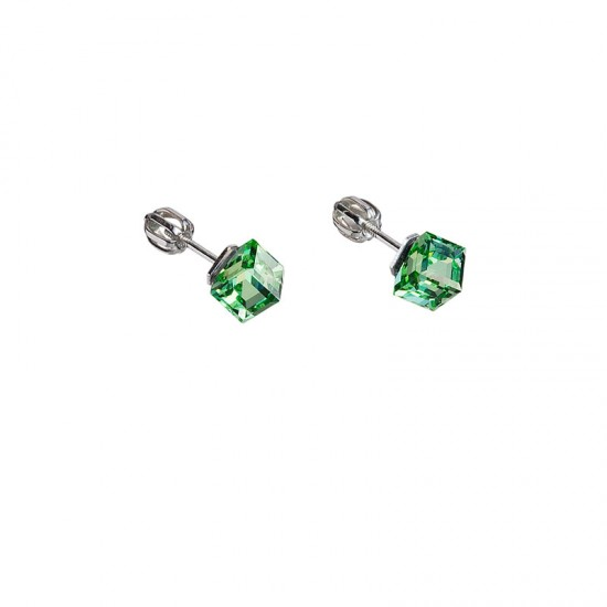 Stříbrné náušnice pecka s krystaly Swarovski zelená kostička 31030.3