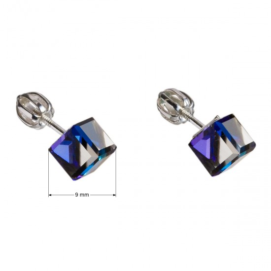 Stříbrné náušnice pecka s krystaly Swarovski modrá kostička 31030.5 bermuda blue