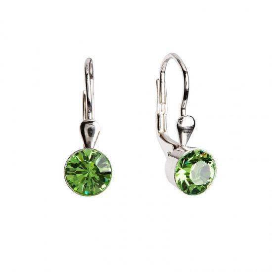 Stříbrné náušnice visací s krystaly zelené kulaté 31112.3