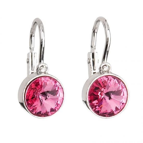 Stříbrné dětské náušnice s krystaly růžové 31126.3