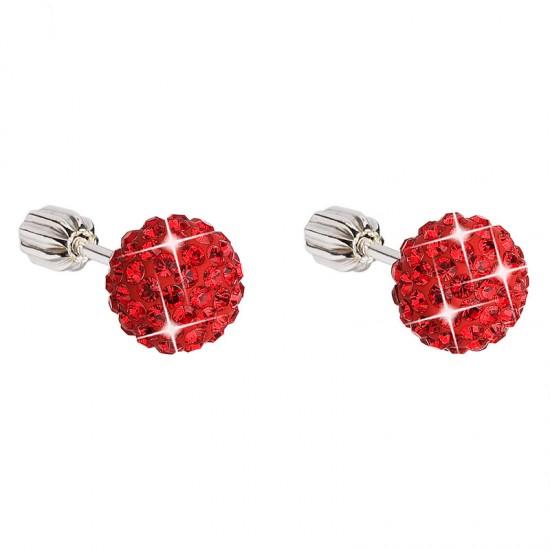 Stříbrné náušnice pecky s krystaly červené kulaté 31111.3