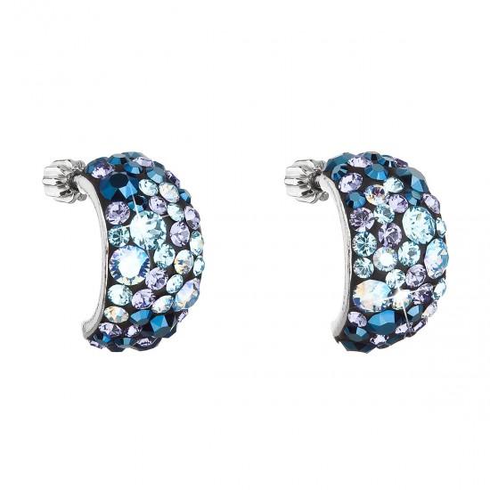 Stříbrné náušnice visací s krystaly Swarovski modré půlkruh 31164.3 blue style