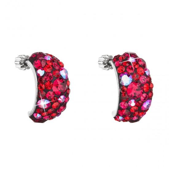 Stříbrné náušnice visací s krystaly Swarovski červené půlkruh 31164.3 cherry