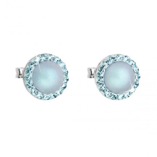 Stříbrné náušnice pecka s krystaly Swarovski a světlemodrou matnou perlou kulaté 31214.3