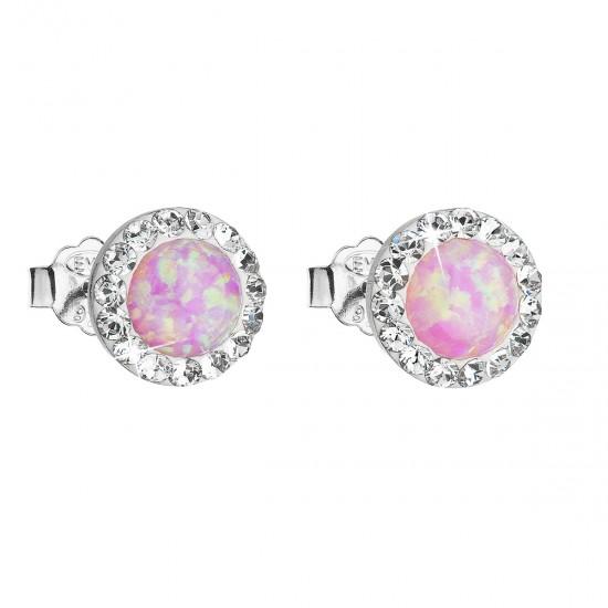 Stříbrné náušnice pecky se syntetickým opálem a krystaly Swarovski růžové kulaté 31217.1