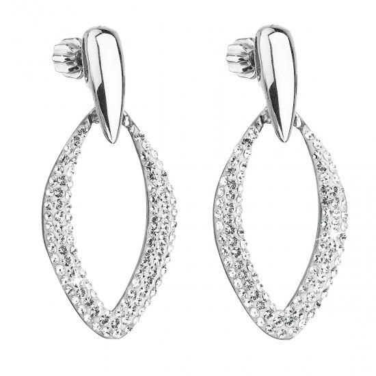 Stříbrné náušnice visací s krystaly Swarovski bílé 31222.1