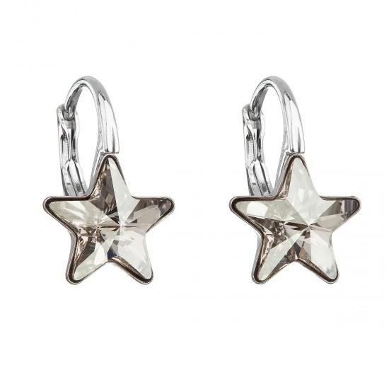 Stříbrné náušnice visací s krystaly Swarovski šedá hvězdička 31227.5