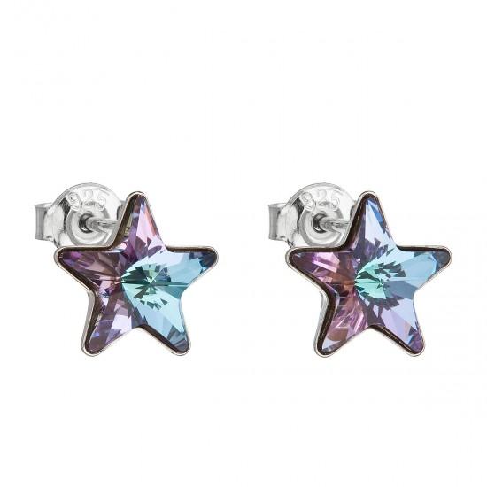 Stříbrné náušnice pecky s krystaly Swarovski fialová hvězdička 31228.5