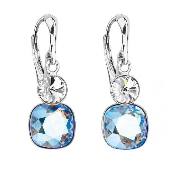 Stříbrné náušnice visací s krystaly Swarovski modrý čtverec 31237.3