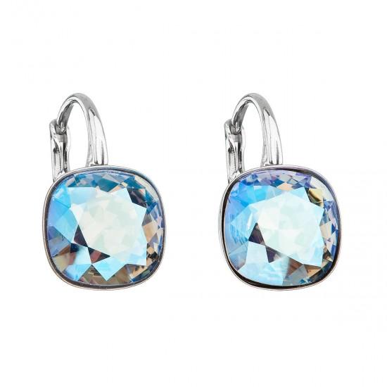 Stříbrné náušnice visací s krystaly Swarovski modrý čtverec 31241.3 light sapphire shimmer