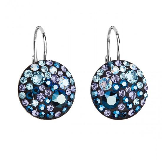 Stříbrné náušnice visací s krystaly Swarovski modré kulaté 31183.3 blue style