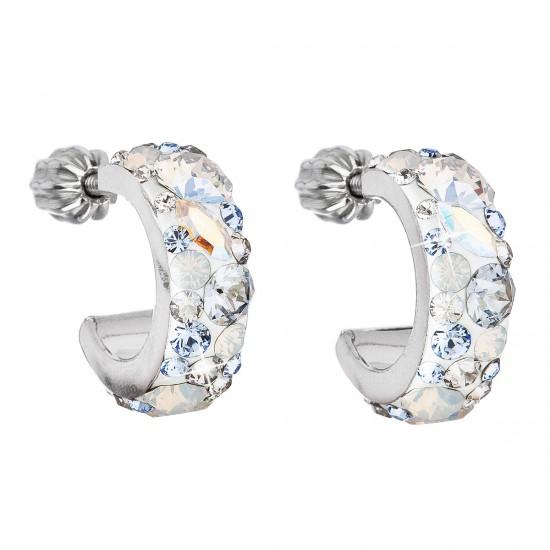 Stříbrné náušnice kruhy s krystaly Swarovski modrý půlkruh 31118.3 light sapphire