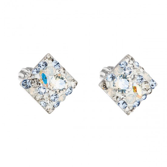 Stříbrné náušnice pecka s krystaly Swarovski modrý kosočtverec 31169.3 light sapphire