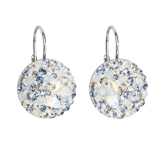 Stříbrné náušnice visací s krystaly Swarovski modré kulaté 31183.3 light sapphire