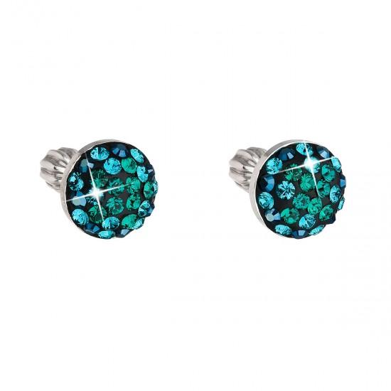 Stříbrné náušnice pecka s krystaly Swarovski zelené kulaté 31336.3 magic green