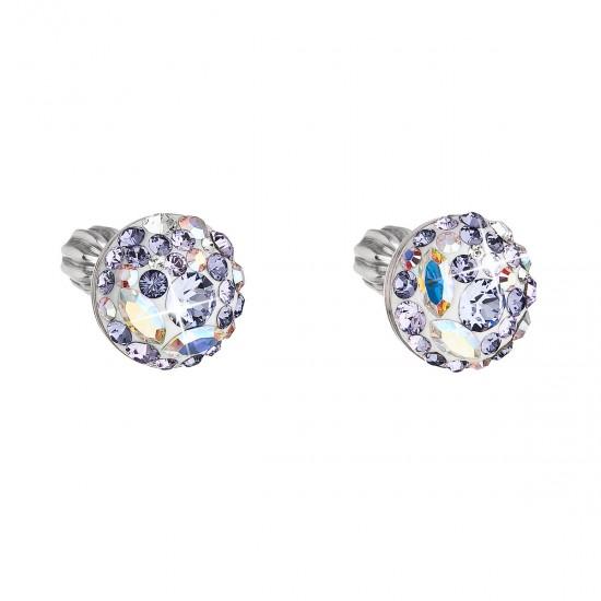 Stříbrné náušnice pecka s krystaly Swarovski fialové kulaté 31336.3 violet