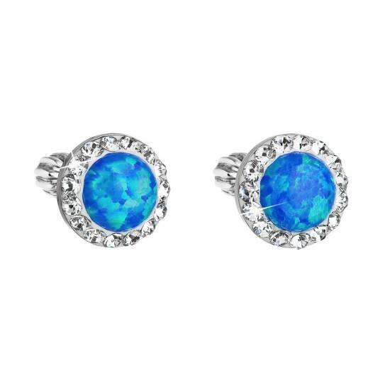 Stříbrné náušnice pecky se syntetickým opálem a krystaly Swarovski modré kulaté 31317.1