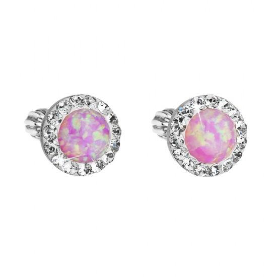 Stříbrné náušnice pecky se syntetickým opálem a krystaly Swarovski růžové kulaté 31317.1