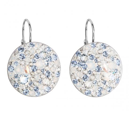 Stříbrné náušnice visací s krystaly Swarovski modré kulaté 31161.3 light sapphire