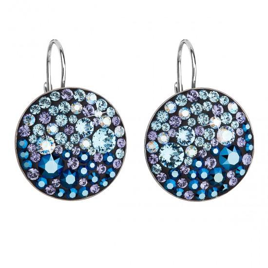 Stříbrné náušnice visací s krystaly Swarovski modré kulaté 31161.3 blue style