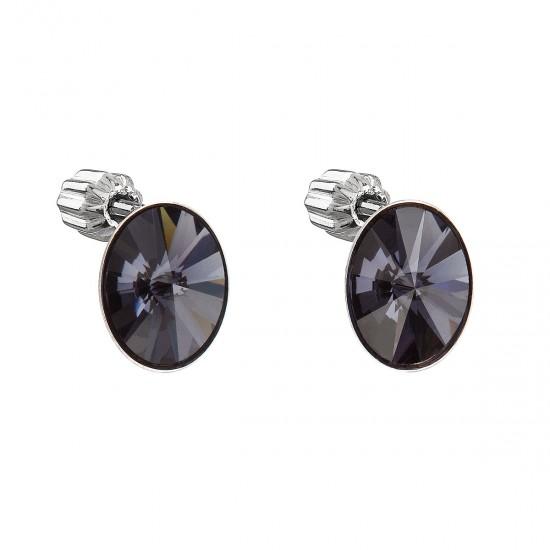 Stříbrné náušnice pecka s krystaly Swarovski černý ovál 31274.3