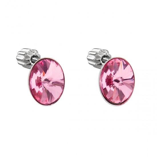 Stříbrné náušnice pecka s krystaly Swarovski růžový ovál 31274.3