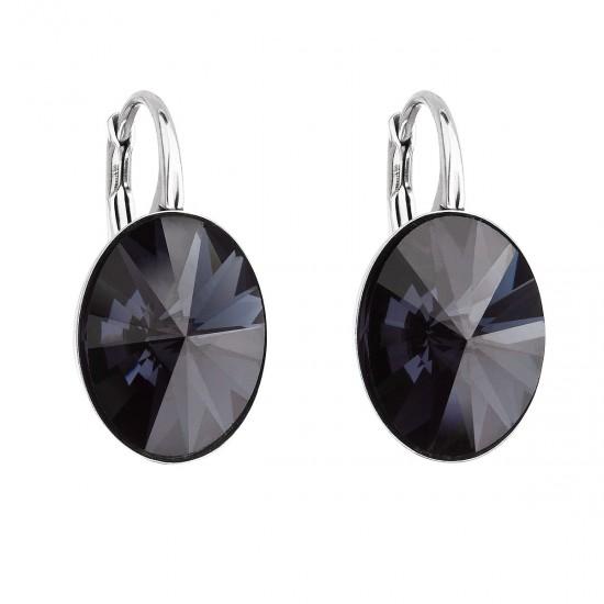 Stříbrné náušnice visací s krystaly Swarovski černý ovál 31275.3