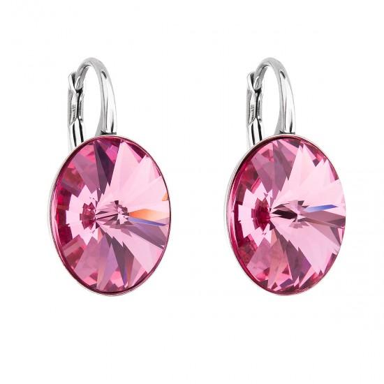 Stříbrné náušnice visací s krystaly Swarovski růžový ovál 31275.3