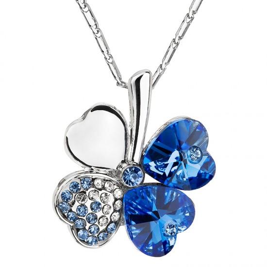 Náhrdelník bižuterie s krystaly modrý čtyřlístek 52001.3