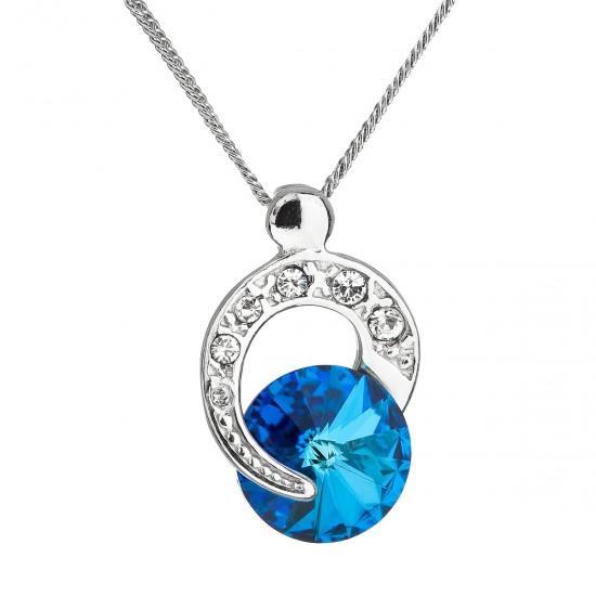 Stříbrný náhrdelník s krystalem Swarovski modrý kulatý 32048.5