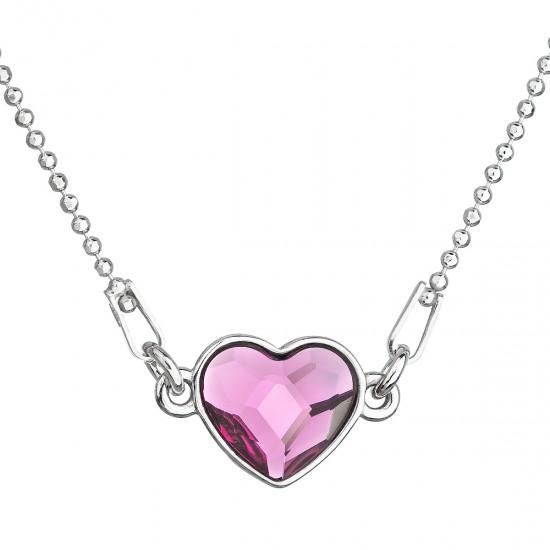 Stříbrný náhrdelník s krystalem Swarovski růžové  srdce 32061.3 fuchsia