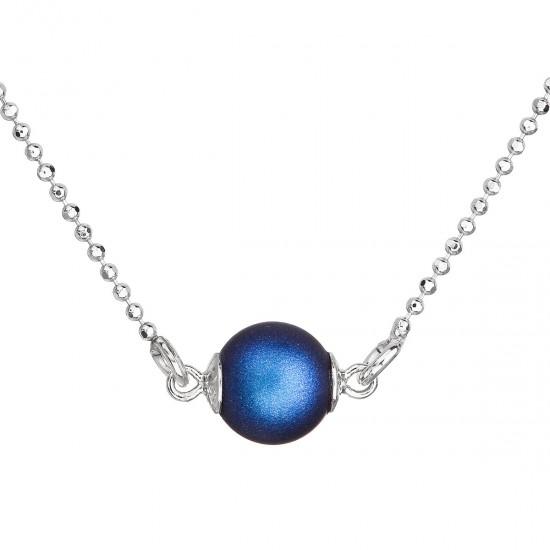 Stříbrný náhrdelník s tmavěmodrou matnou perlou 32068.3
