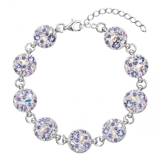 Stříbrný náramek se Swarovski krystaly fialový 33048.3
