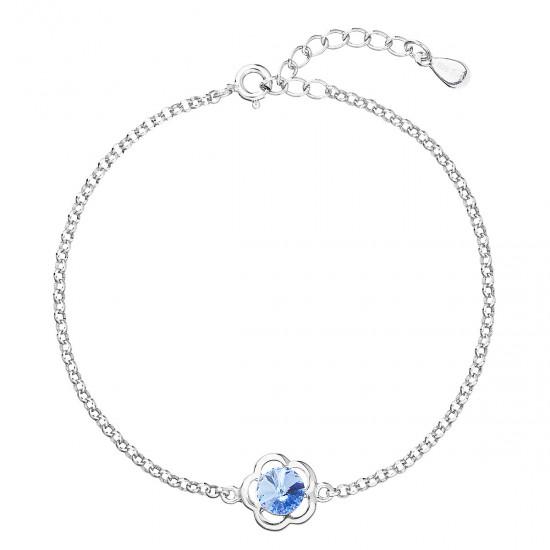 Stříbrný náramek se Swarovski krystaly modrá kytička 33117.3
