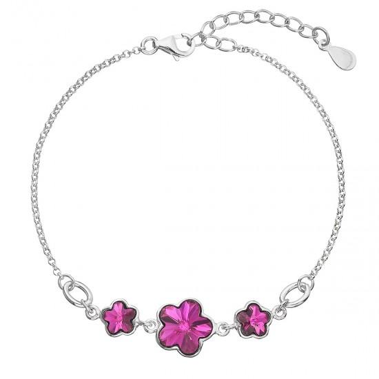 Stříbrný náramek se Swarovski krystaly růžová kytička 33112.3 fuchsia