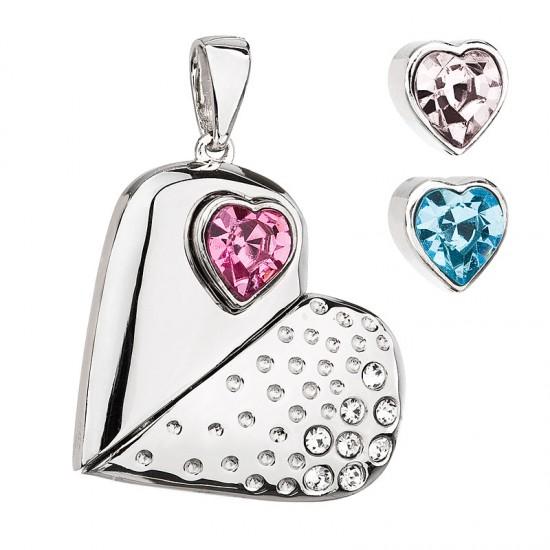 Stříbrný přívěsek s krystaly Swarovski mix barev srdce 34174.3