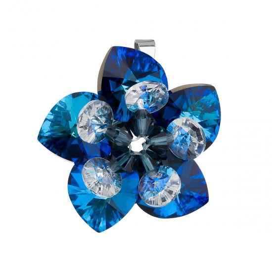 Stříbrný přívěsek s krystalem Swarovski modrá květina 34072.5