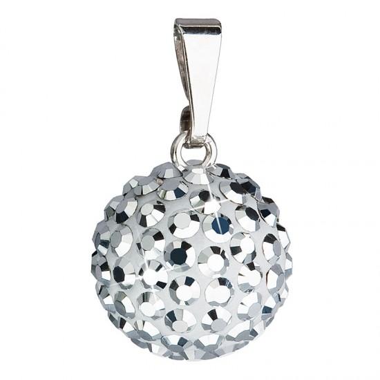 Stříbrný přívěsek s krystaly stříbrný kulatý 734080.5