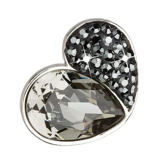 Stříbrný přívěsek s krystaly černé srdce 34161.3