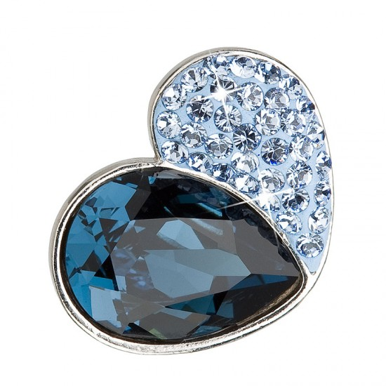 Stříbrný přívěsek s krystaly modré srdce 34161.3 montana