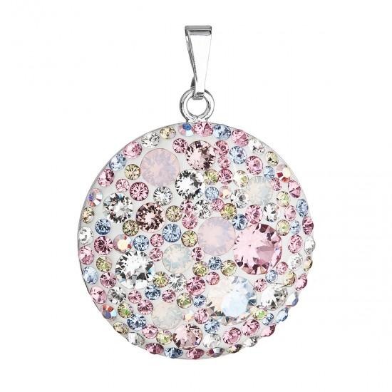 Stříbrný přívěsek s krystaly Swarovski růžový kulatý 34131.3