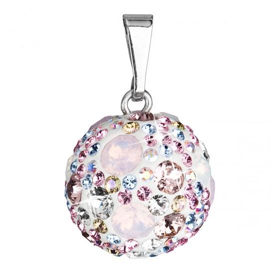 Stříbrný přívěsek s krystaly Swarovski mix barev kulatý 34081.3 magic rose