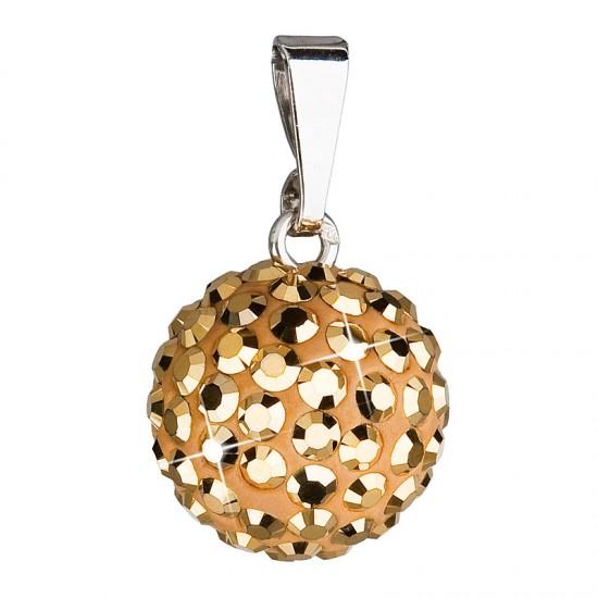 Stříbrný přívěsek s krystaly zlatý kulatý 734080.5