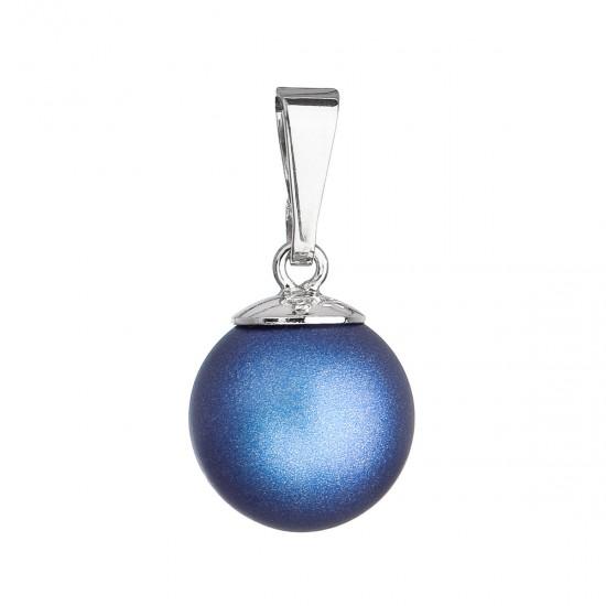 Stříbrný přívěšek s kulatou tmavěmodrou matnou perlou 34150.3