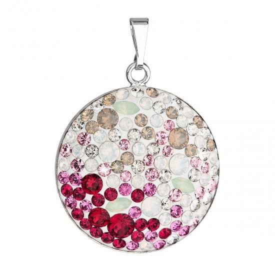 Stříbrný přívěsek s krystaly Swarovski mix barev červené kulatý 34131.3