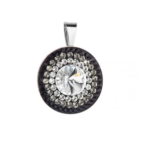 Stříbrný přívěsek s krystaly Swarovski bílá-černé kulatý-rivoli 34207.3