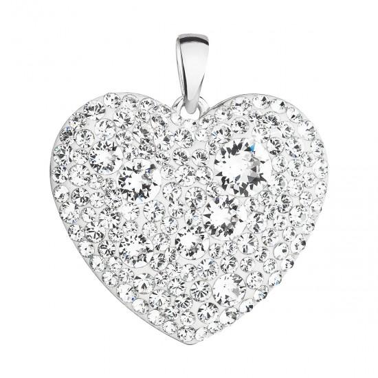Stříbrný přívěsek s krystaly Swarovski bílé srdce 34243.1