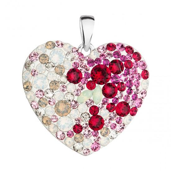 Stříbrný přívěsek s krystaly Swarovski mix barev srdce 34243.3 sweet love