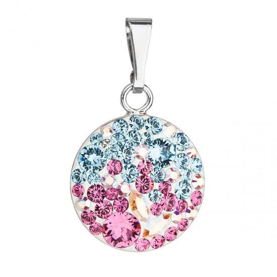 Stříbrný přívěsek s krystaly Swarovski mix barev kulatý 34225.3 water lilly